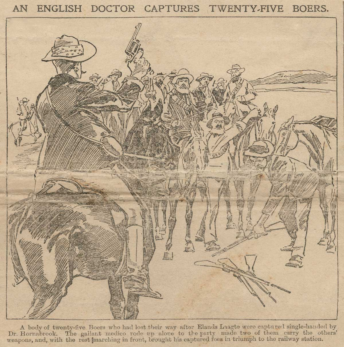 Cartoon with caption An English Doctor Captures Twenty-five Boers